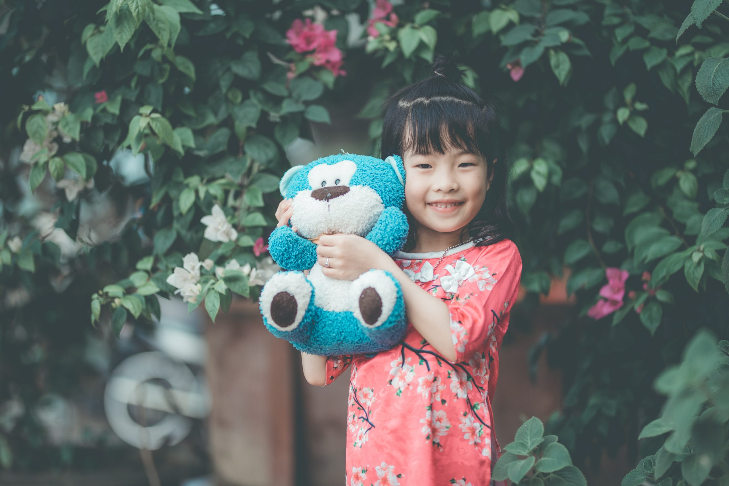 happy child with teddy bear - flow to learn